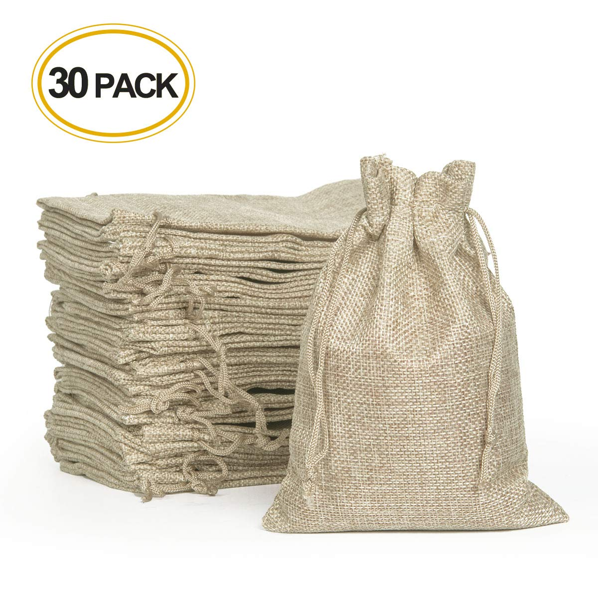 Luropa 30 pcs Burlap Bag, Gift Bags with Drawstring Jewelry Pouches Sacks and Cotton Lining for Wedding, Christmas and DIY Craft (7.1'' x 5.1'')