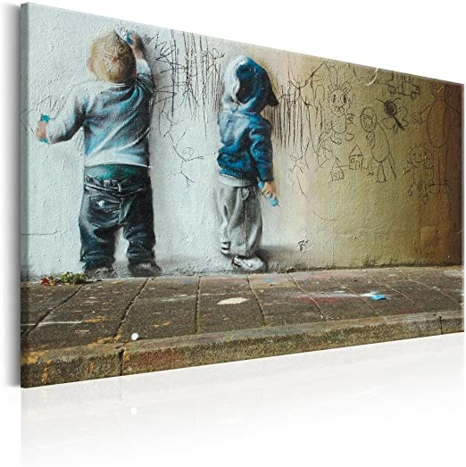 BANKSY GRAFFITI WINDOW PAINT PRINT ON WOOD FRAMED CANVAS WALL ART