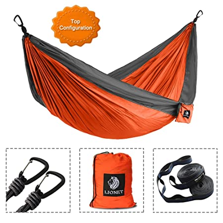 3bbce04b4 Lionet Camping Hammock, Double Parachute Lightweight Portable Hammock for  Backpacking, Camping, Travel, Yard,Beach.118(L) x 78