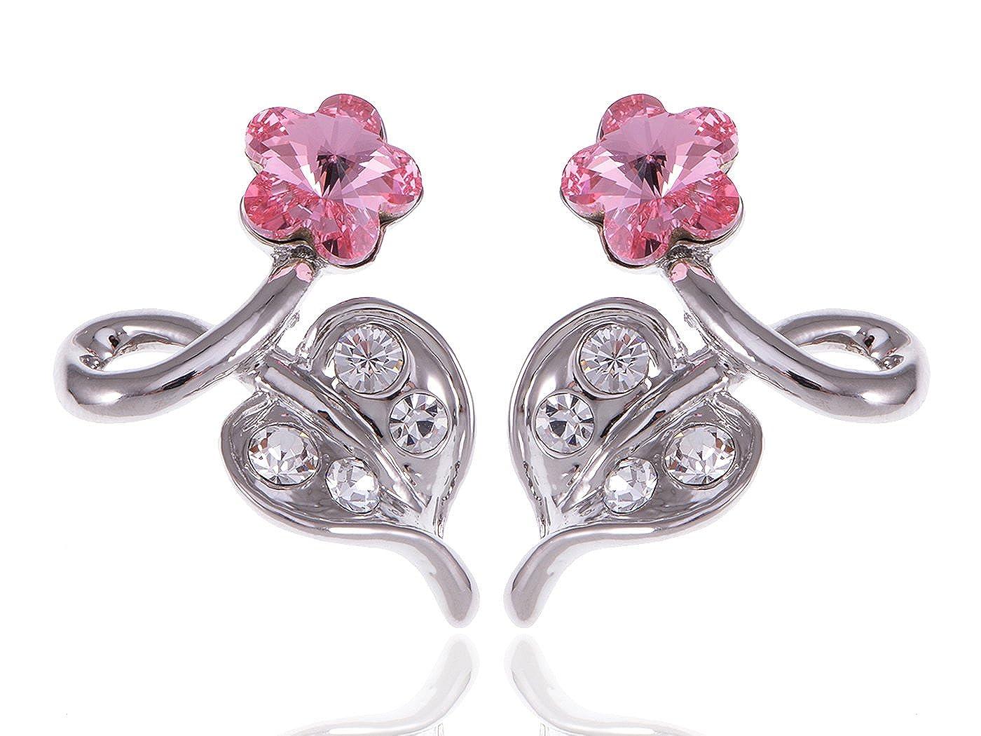 eab9af836 Amazon.com: Alilang Womens Swarovski Crystal Element Silver Tone Pink  Flower Leaf Swirl Stud Earrings: Dangle Earrings: Jewelry