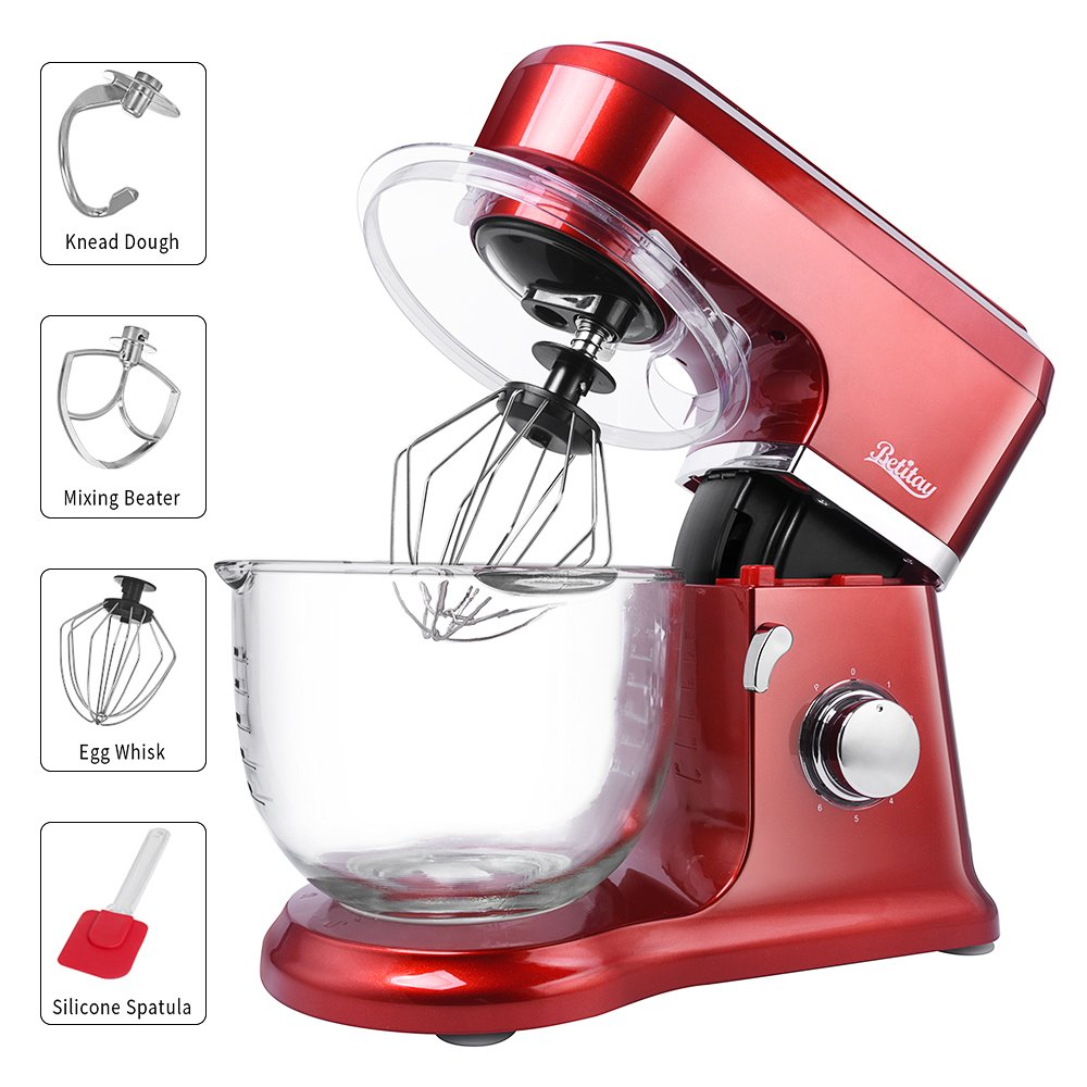 Betitay Stand Mixer 120V-60Hz/1400W, 4.5 QT Bowl, Two Bowl Options, 304 Stainless Steel Bowl and Glass Bowl with Mixing Beater, Egg Whisk, Dough Hook, and Silicone Brush (Red/Glass)