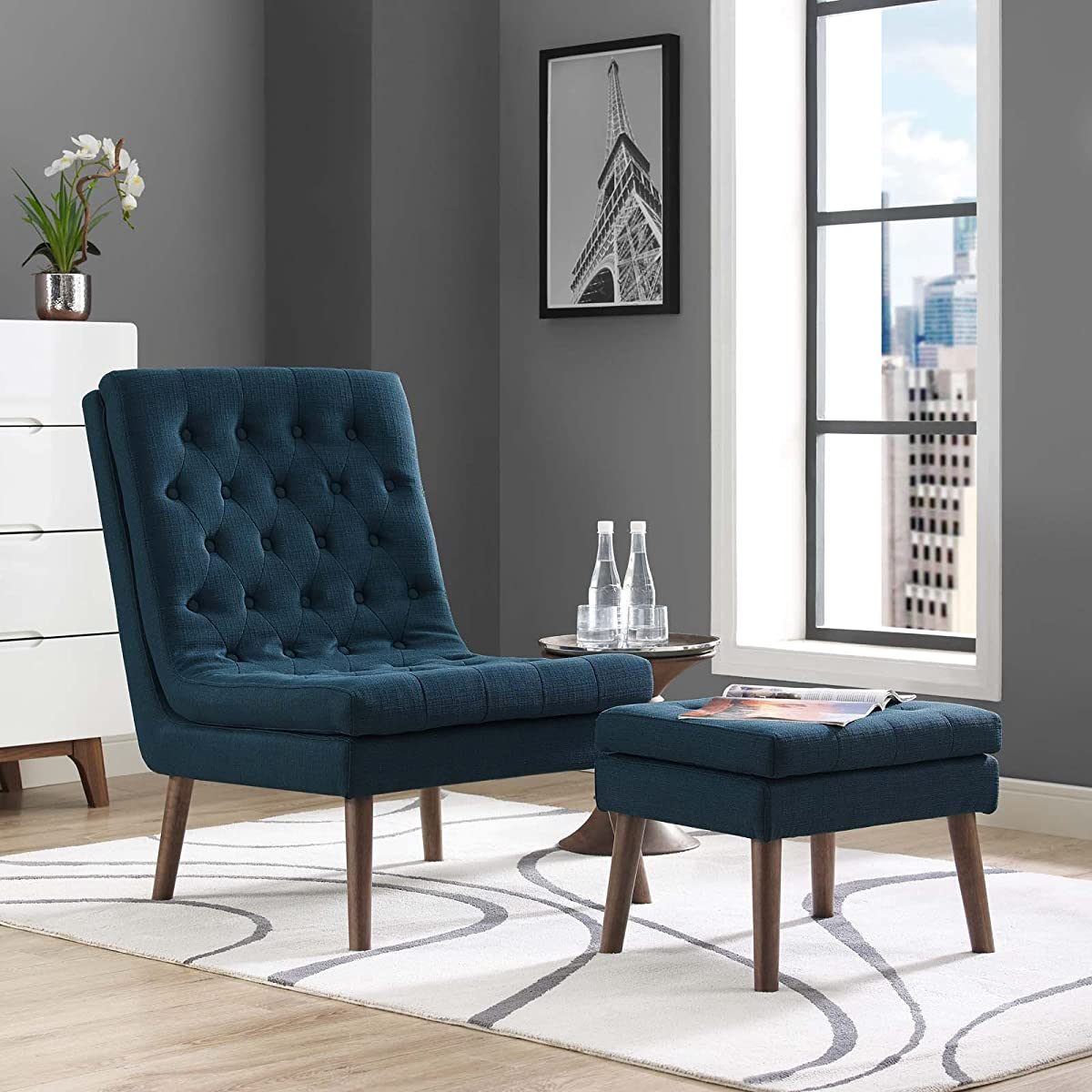 Modway EEI-2988-AZU Modify Upholstered Lounge Chair and Ottoman, Azure
