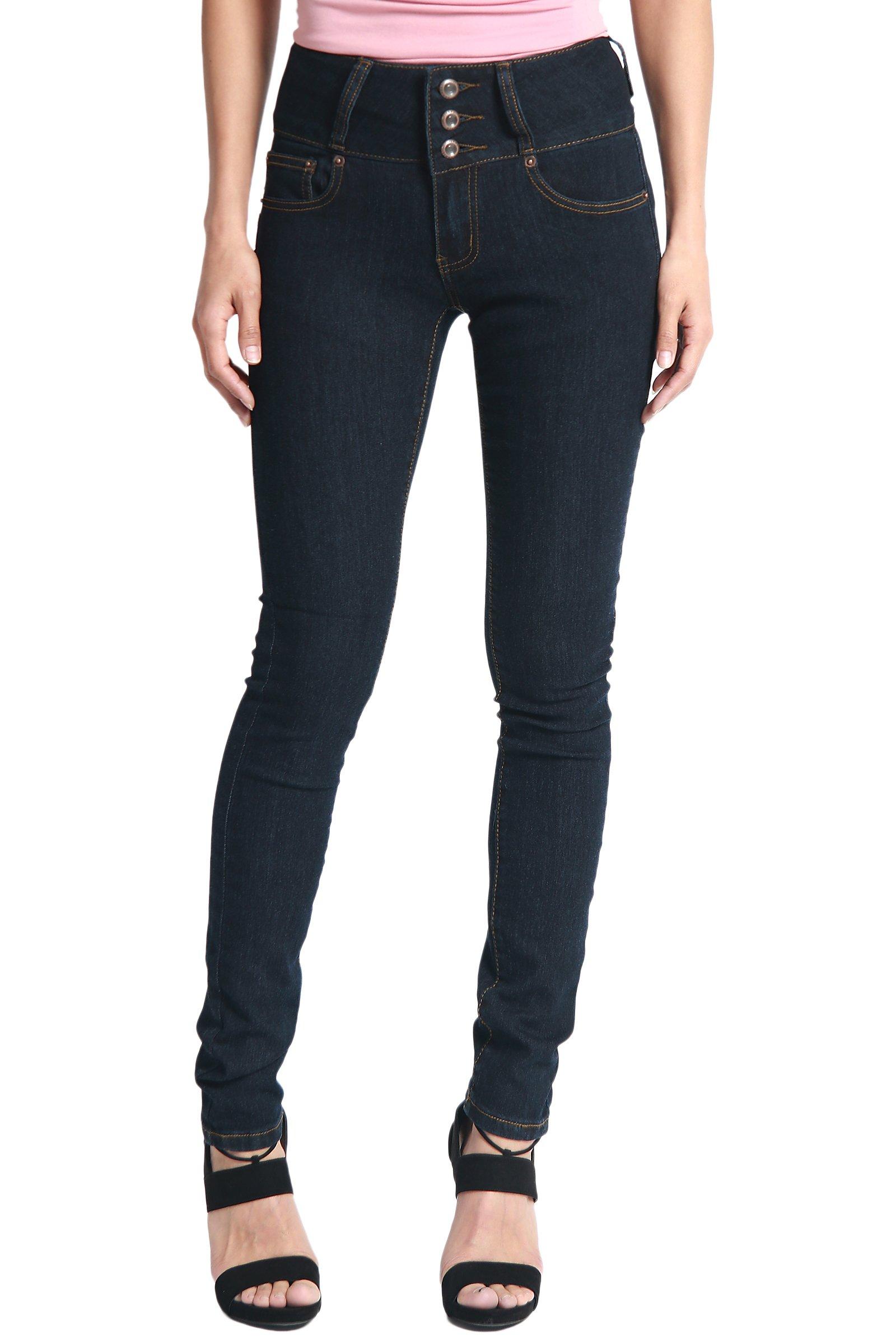 TheMogan Women's Hip up Butt Lifting High Waist Denim Skinny Jeans Super Dark 7