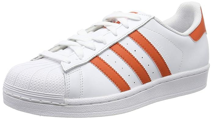 adidas Superstar Schuhe Herren Low-Top Weiß mit orangem (Raw Amber) Streifen