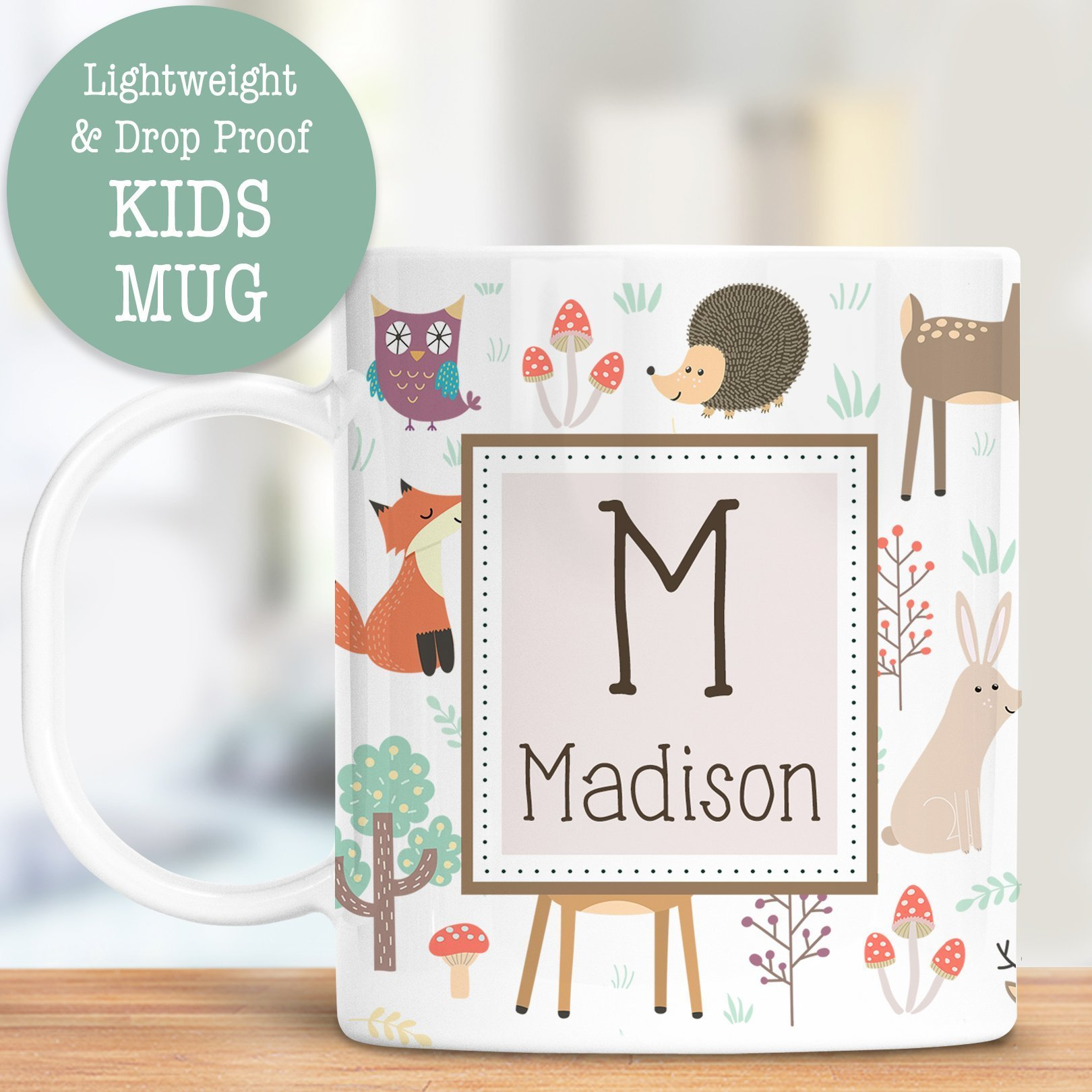 Kids Personalized Mug Wilderness Animals Customize with Name and Initial Lightweight and Drop Proof | Dishwasher Safe | Child Toddler Cup BPA Free