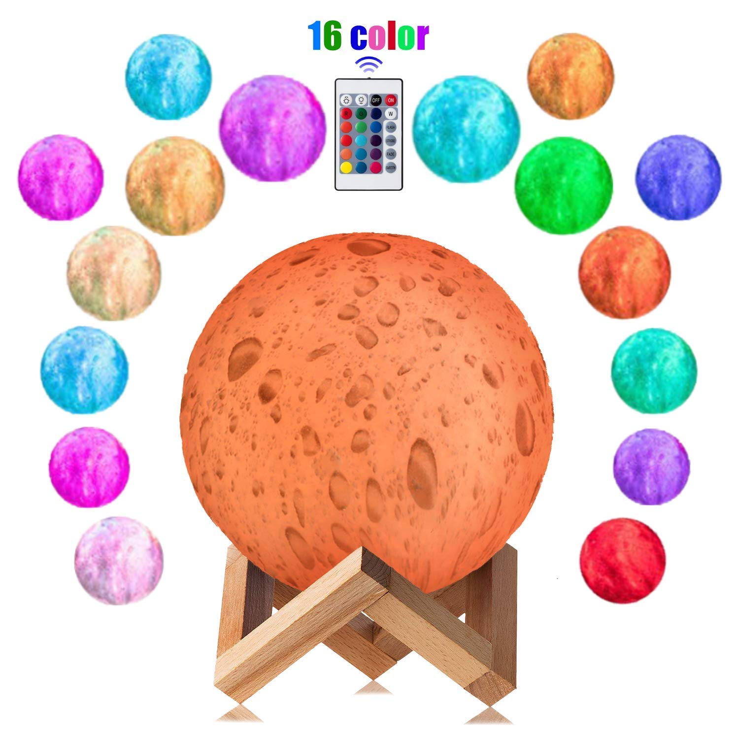 3D Moon Lamp 16 Colors LED 3D Print Moon Light with Stand Remote Touch Control and USB Rechargeable