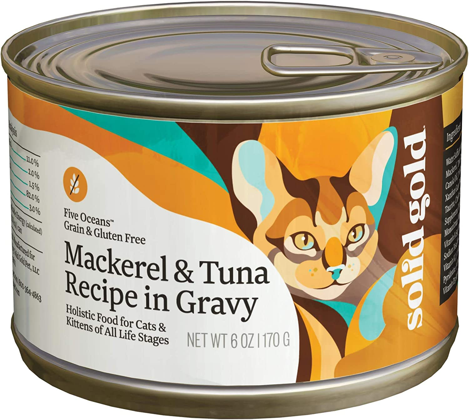 8. Solid Gold Five Oceans Canned Cat Food with Mackerel & Tuna Recipe in Gravy