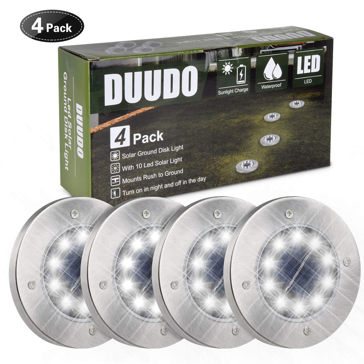 DUUDO Solar Ground Light, Newest 10 LED Garden Pathway Outdoor Waterproof In-Ground Lights, Disk Lights (Cold White, 4 Pack) by DUUDO