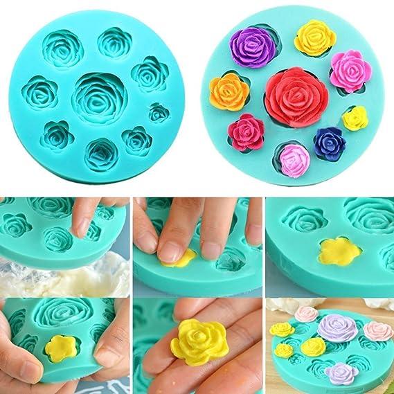 Moldes 3D diseño de rosas de silicona para usar con chocolate, fondant, jabón o velas: Amazon.es: Hogar