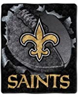 "NFL New Orleans Saints 50-Inch-by-60-Inch Sherpa on Sherpa Throw Blanket ""Burst"" Design"