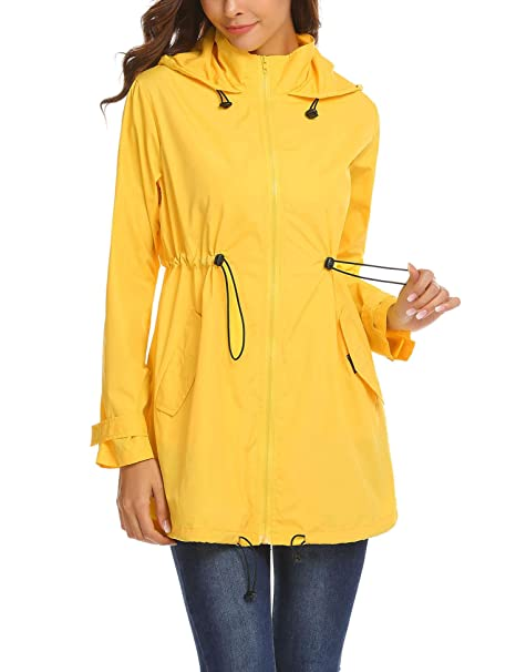 e5cb7aaae Mofavor Womens Travel Trench Waterproof Raincoat Hoodie Windproof Hiking  Coat Packable Rain Jacket Yellow S