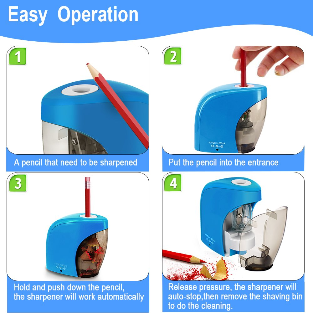 Pencil Sharpener with Auto Feature, BENGOO Electric Durable and Portable Pencil Sharpener for 8mm diameter Pencils, for School Classroom, Home Study, Office Use-Blue (Batteries not included) by BENGOO (Image #2)