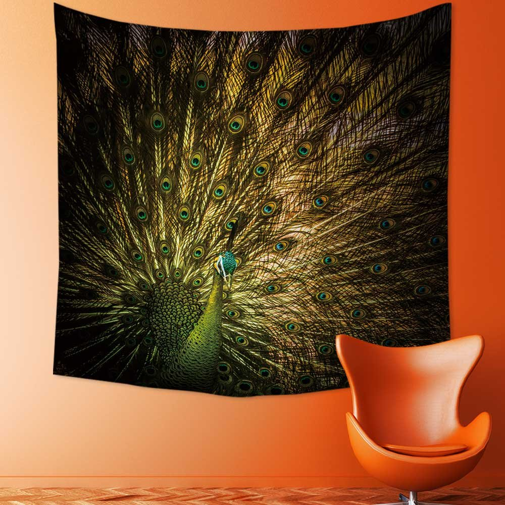 Custom Tapestry Wall Tapestry Wall Hanging Tapestries Beautiful Thai golden peacock with close up view Peacock is the sy of Tapestry Wall Blanket Wall Decor Wall Art Home Decor 59.1 x L51.2 inches
