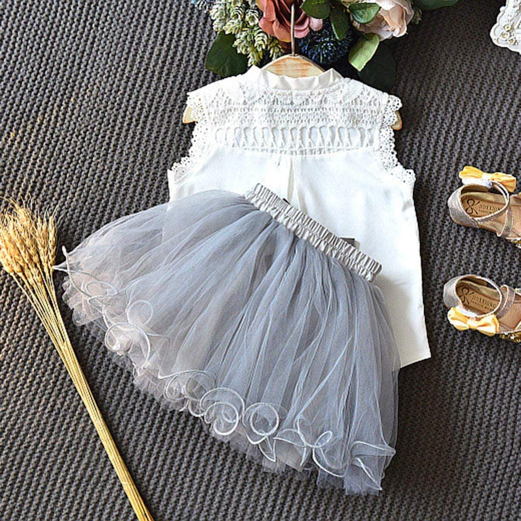 Womola 2Pcs Kids Girls Sleeveless Lace Shirt Tops Tutu Laryered Skirt Sets Outfit