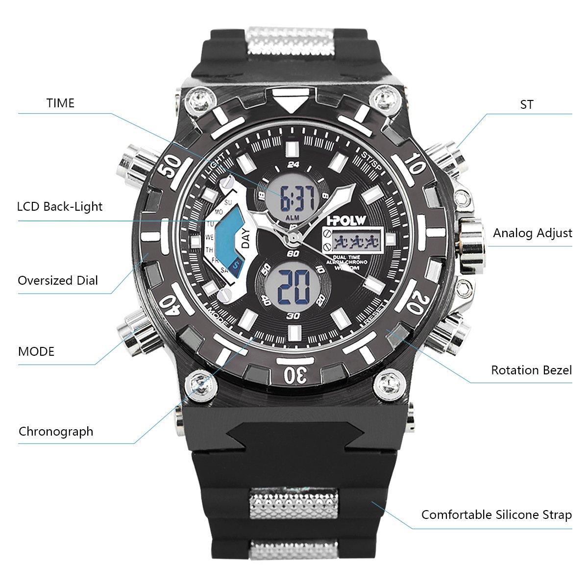 Amazon.com: Sport Watch LED Digital Wrist Large Face LED Waterproof Military SIBOSUN Men Japanese Quartz Alarm Date: Watches