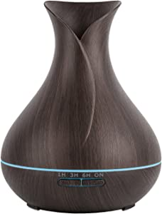 MoKo Aroma Diffuser, 300ML Aromatherapy Essential Oil Diffuser Air Humidifier Purifier, Vase Shape Ultrasonic Mist Maker with LED Lights and Waterless Auto Shut-Off for Home Office Yoga - Wood Grain