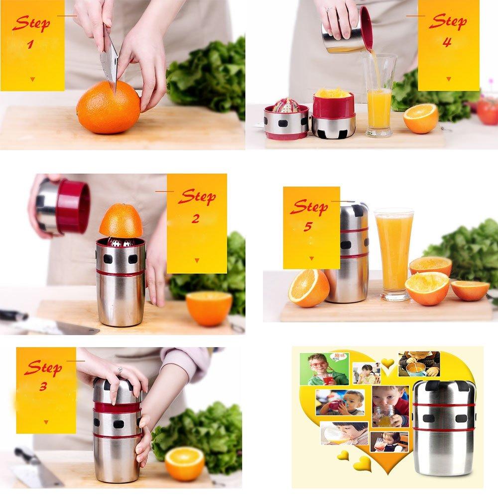 Exprimidor, meinstilin mano exprimidor manual de acero inoxidable exprimidor manual exprimidor tapa rotación prensa escariador de cítricos naranja: ...