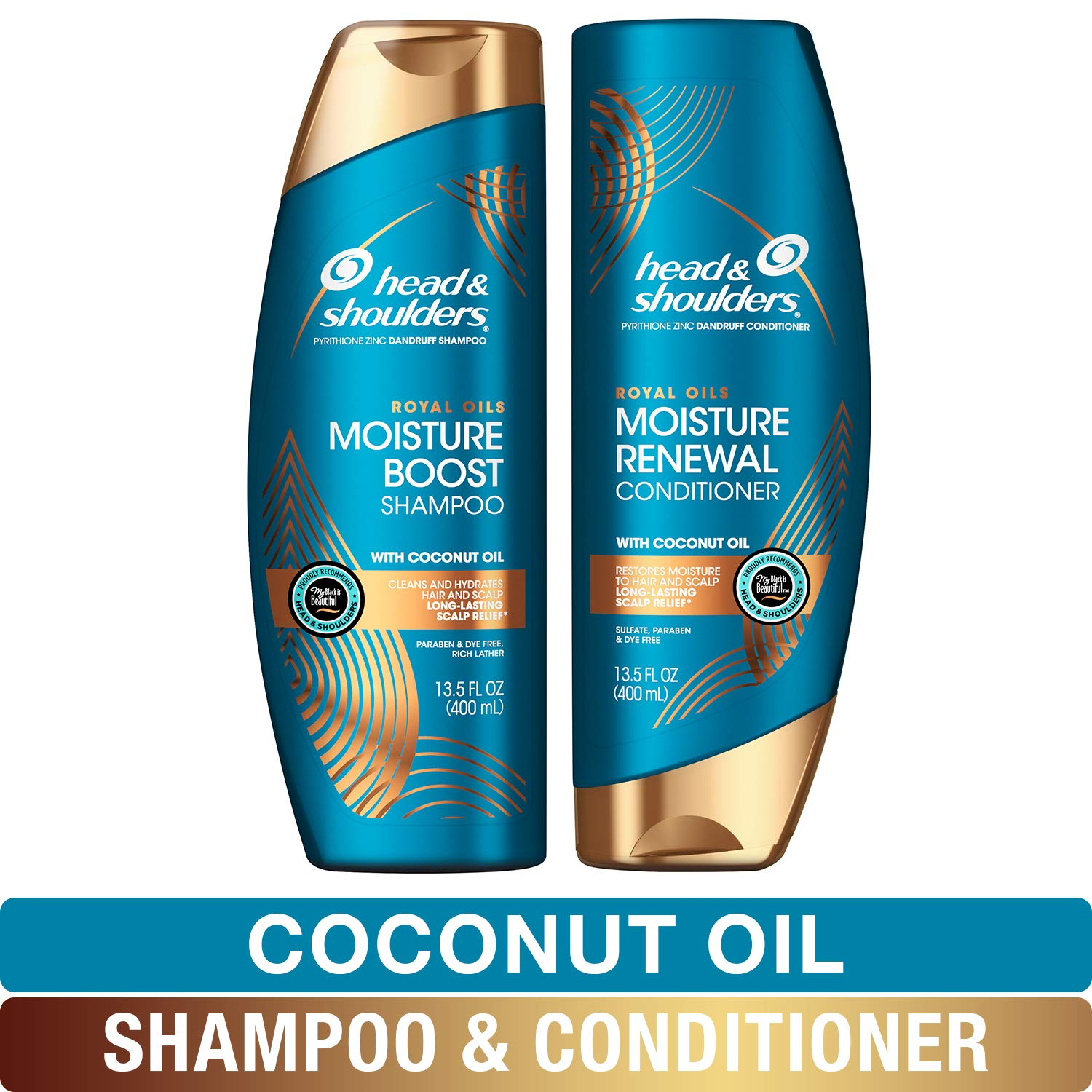 Head and Shoulders Shampoo and Conditioner, Moisture Renewal, Anti Dandruff Treatment and Scalp Care, Royal Oils Collection with Coconut Oil, 27 fl oz, Kit by Head & Shoulders
