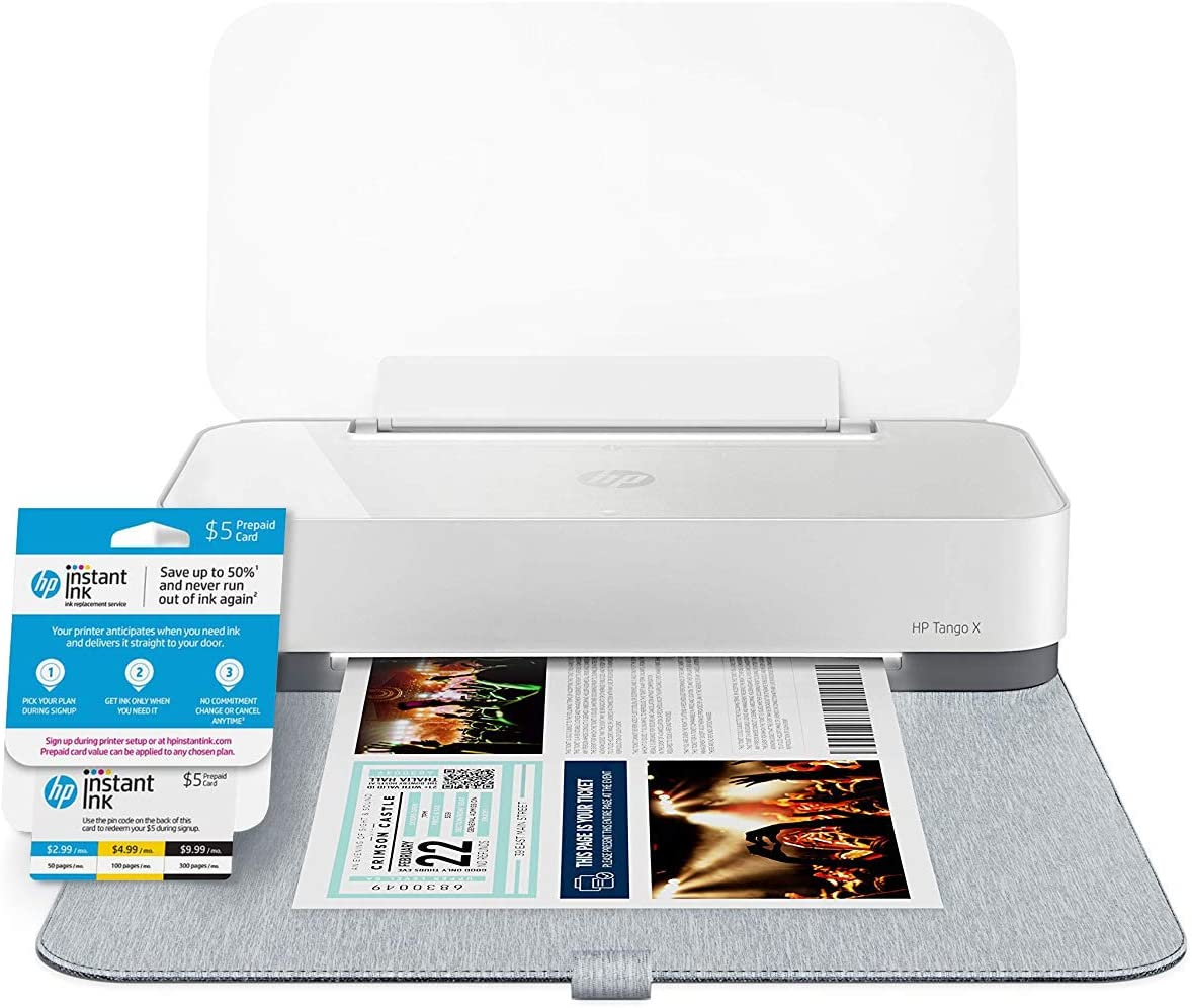 HP Tango X Smart Home Printer with Indigo Linen -cover – Designed for your Smartphone with Remote Wireless Printing (3DP64A) with Instant Ink Prepaid Card for 50 100 300 Page per Month Plans (3HZ65AN)