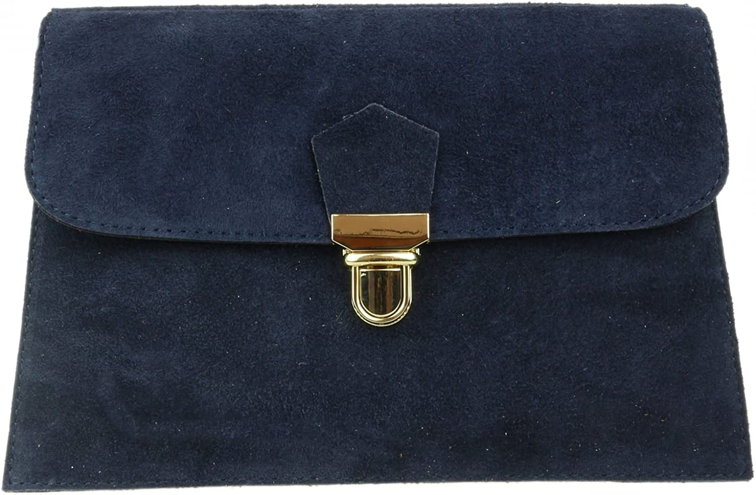 Girly HandBags Double Front Genuine Suede Clutch Bag