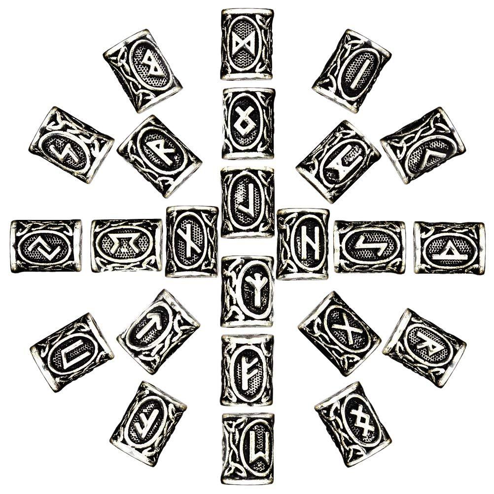McRee 24pcs nórdico Viking runas pelo barba cuentas envejecido pulsera de DIY Joyas Colgantes escandinavo, Aleación, Golden