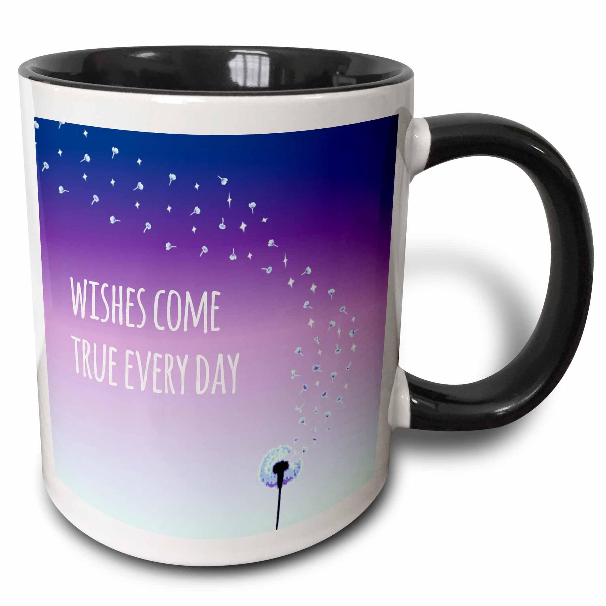 3dRose (mug_151375_4) Wishes come true every day - inspirational motivational sayings - motivation - purple dandelion wish - Two Tone Black Mug, 11oz