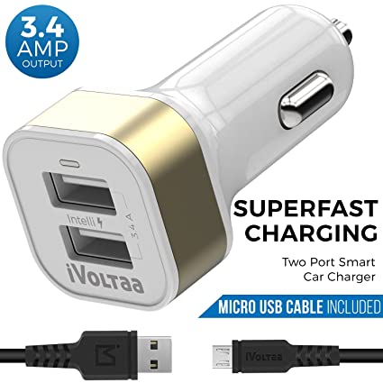 Ivoltaa 34a Dual Port Car Charger With Micro Usb Cable Amazonin