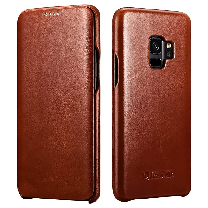 superior quality a3e18 3cb4f Galaxy S9 Leather Case, Icarer Genuine Vintage Leather Flip Folio Opening  Cover in Curved Edge Design, Slim Thin Side Open Case for Samsung Galaxy S9  ...
