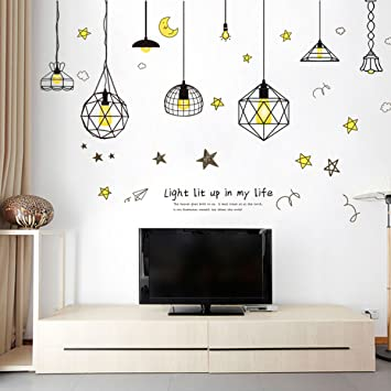 Decals Design 'Hanging Lamp with Moon Star and Quote' Wall Sticker (PVC  Vinyl, 50 cm x 70 cm)