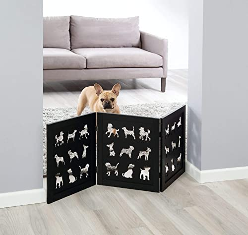 Zoogamo 3 Panel Black Wooden Dog Silhouette Pet Gate -19 Inches Tall Expands Up to 48 Freestanding Tri Fold Durable Wooden Dog Fence-Indoor Outdoor Pet Barrier for Stairs,Doorways