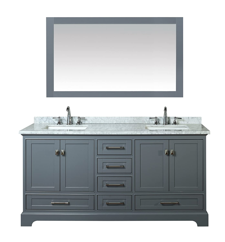 Stufurhome HD-7130G-72-CR Newport Double Sink Bathroom Vanity with Mirror,  72-Inch, Grey
