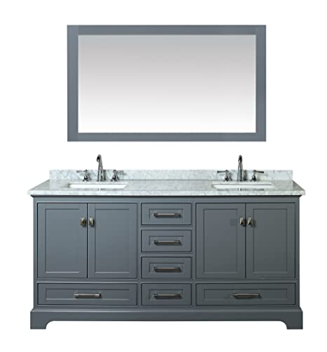 Terrific Stufurhome Hd 7130G 72 Cr Newport Double Sink Bathroom Vanity With Mirror 72 Inch Grey Home Remodeling Inspirations Cosmcuboardxyz