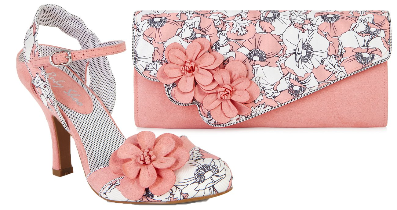 Ruby Shoo Women's Peach Floral Heidi Fabric Slingback Pumps & Rio Bag UK 7 EU 40