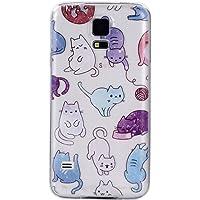 COZY HUT Samsung Galaxy S5 Custodia, Morbido TPU Cover Cristallo limpido Trasparente Slim Anti Scivolo Protezione Posteriore Case Antiurto per Samsung Galaxy S5 - Colore Cat
