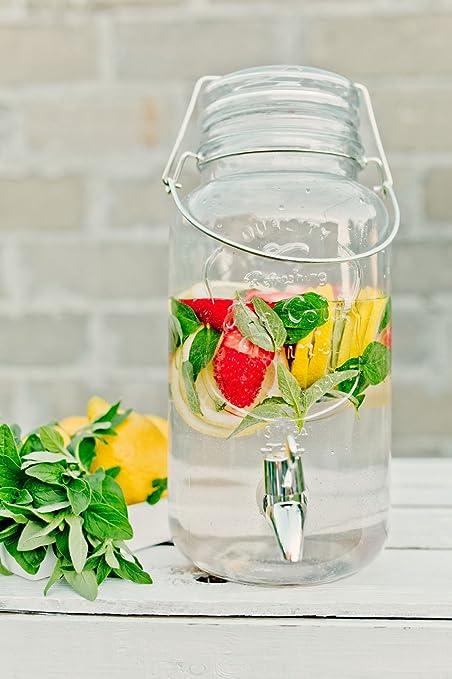 Unbekannt 4 L inoxidable dispensador de bebidas con grifo Cristal rústico Dispenser Bebidas dispensador de zumo