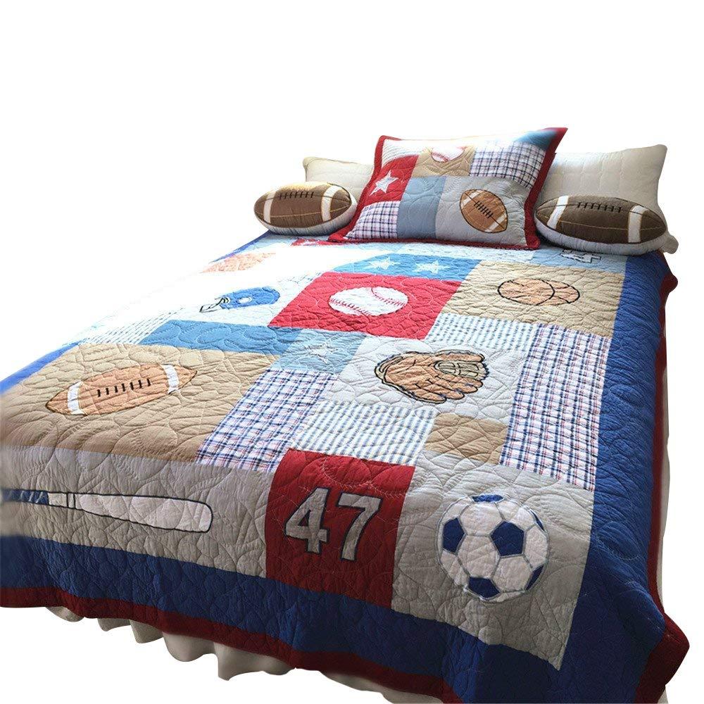 Abreeze 100% Cotton Plaid Striped Quilt Football Comforter Children's Bedspread Set for Boys Girls Baseball Bedspreads Kids Bedding, Twin Size