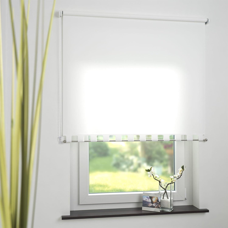 Seitenzugrollo Kettenzugrollo mit mit mit Volant Rollo Weiß Breite 62-242 cm Länge 180 cm Blickdicht Lichtdurchlässig Sonnenschutz Sichtschutz (192 x 180 cm) dddfdf