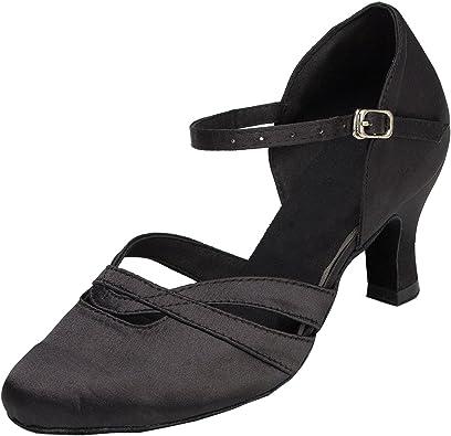 para bailes de sal/ón c/ómodos Zapatos de tac/ón bajo para mujer Minitoo TH152 de sat/én