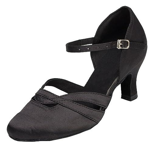 0ec9cb66 Zapatos de tacón bajo para mujer Minitoo TH152, de satén, cómodos, para  bailes de salón: Amazon.es: Zapatos y complementos