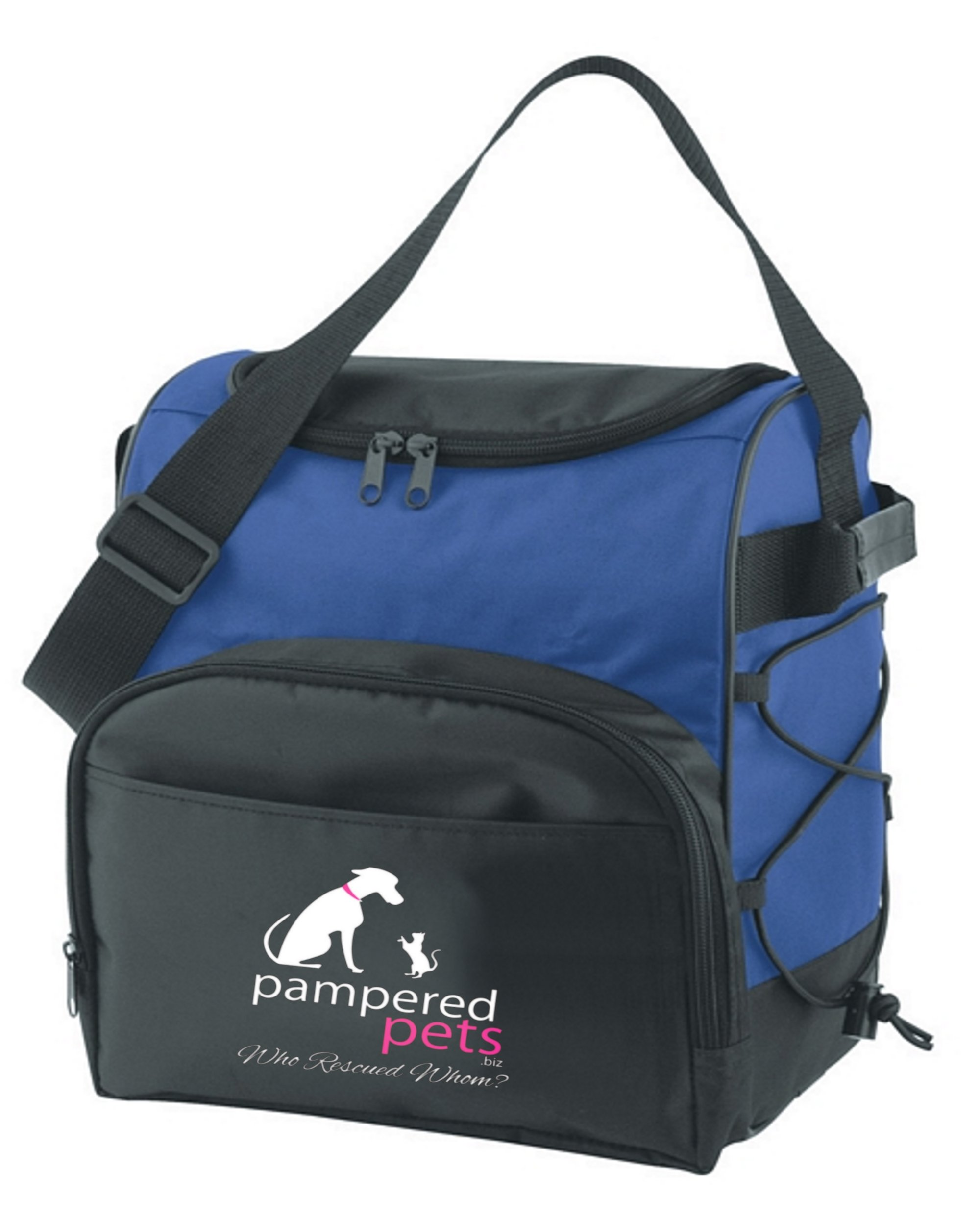 Pampered Pets Pampered Pets 12 Can Dual Zippered Travel Cooler ''Who Rescued Whom'' Royal Blue by Pampered Pets