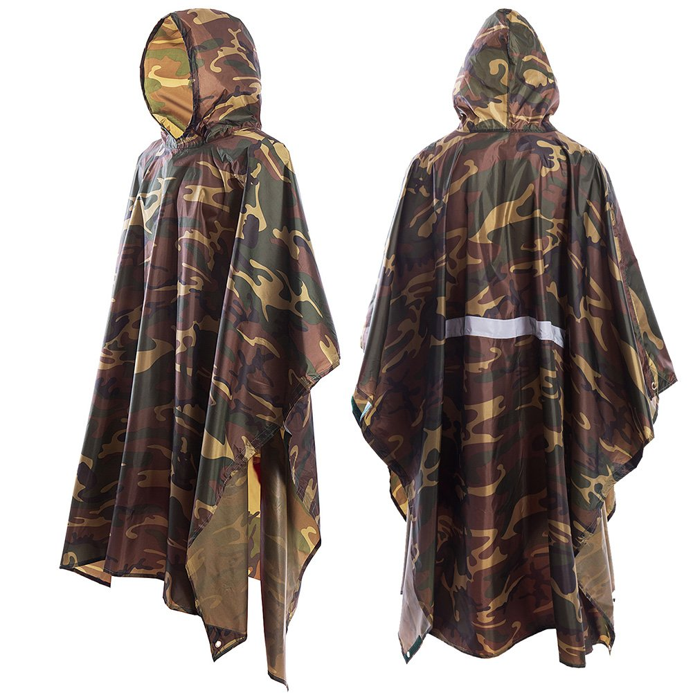 JTENG Rain Poncho, Waterproof Raincoat Hoods Concerts,Camping,Hiking,Cycling Cycling (Black)