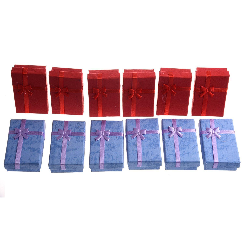 SODIAL(R) 12 x Scatole regalo di lusso per il ciondolo braccialetto collana anello dimensione: 5 x 8 x 2, 5cm TRTA11A