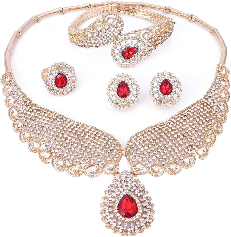 OUHE Jewelry Sets for Women-Necklace Earrings Bracelet Ring-
