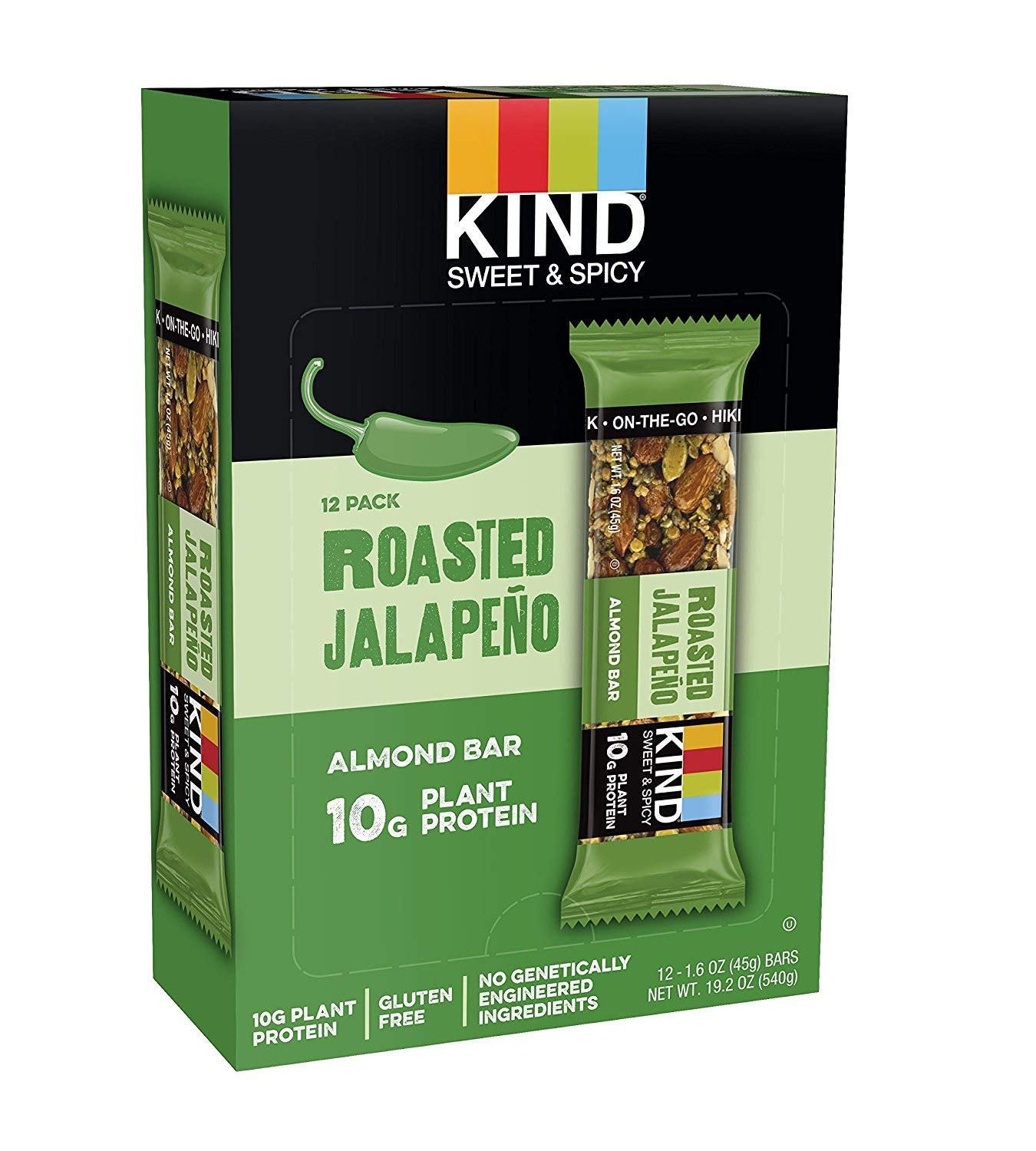 KIND Sweet and Spicy Bars, Roasted Jalapeno, Gluten Free, 10g Plant Protein, (24 Bars) by KIND (Image #1)