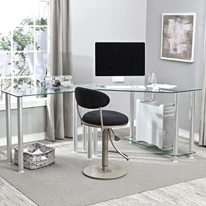 Merveilleux Amazon.com: Corner Computer Desk With Glass Top Work Center Arm: Home U0026  Kitchen