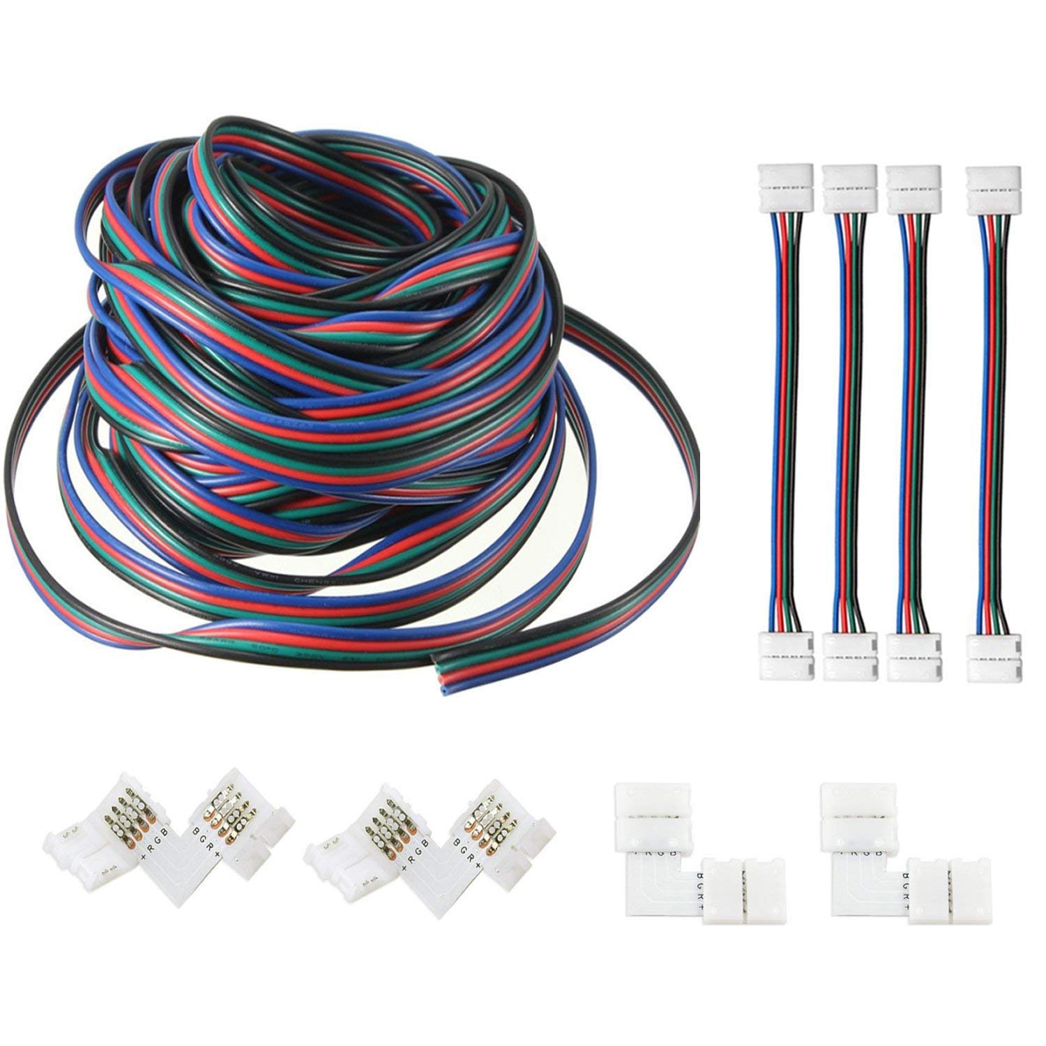 AREOUT RGB Extension Cable Wire Cord 4 Pin (39.3ft/12M), 5050 3528 Led Light Strip Connector Kit
