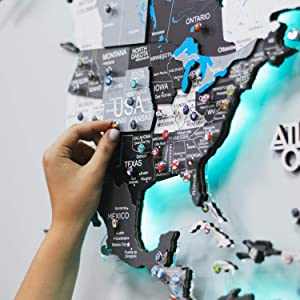 LED 3D Wood World Map Wall Art Large Wall Decor - World Travel Map With Rivers&Lakes ALL Sizes (M L XL) 3D Nordic Any Occasion Gift Idea - Wall Art For Home & Kitchen or Office
