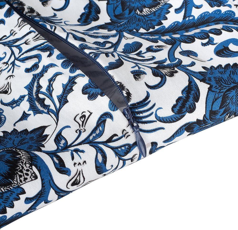 HOMEYEE Damen Vintage Rundhalsausschnitt Blumendruck Bodycon Business Bleistift Kleid B316