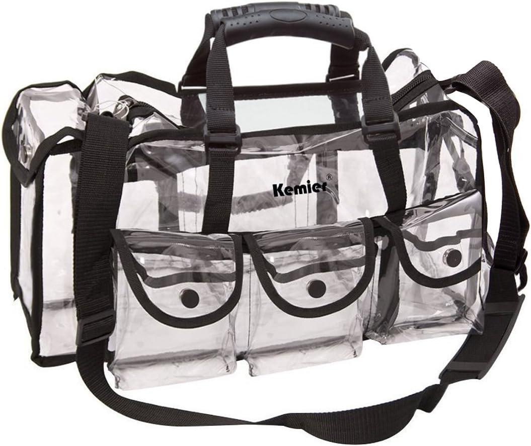 Kemier Bolso Transparente Estuche de Viaje de Belleza con 6 Bolsillos Externos Organizador para Productos Cosméticos Grande y con Bandolera