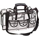 Kemier Beauty Case Trasparente da Viaggio con 6 Tasche Esterne Organizer per Cosmetici Grande e con Tracolla